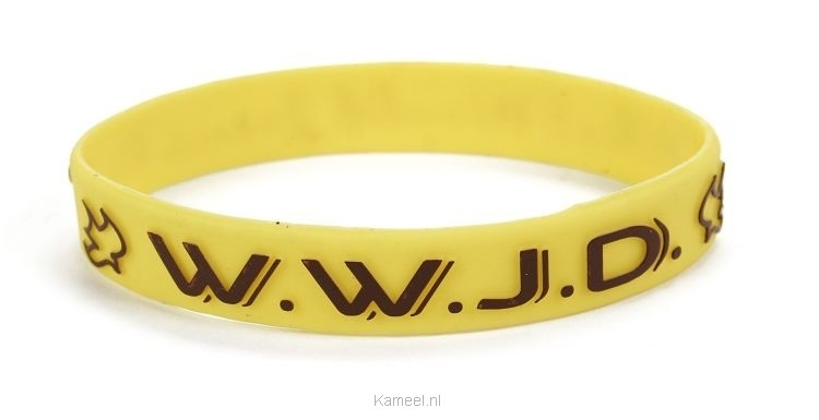 Grote afbeelding Armband geel WWJD duif Silicone